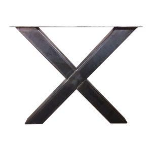 Industrieel stalen X-poot 10x10 cm onderstel vooraanzicht