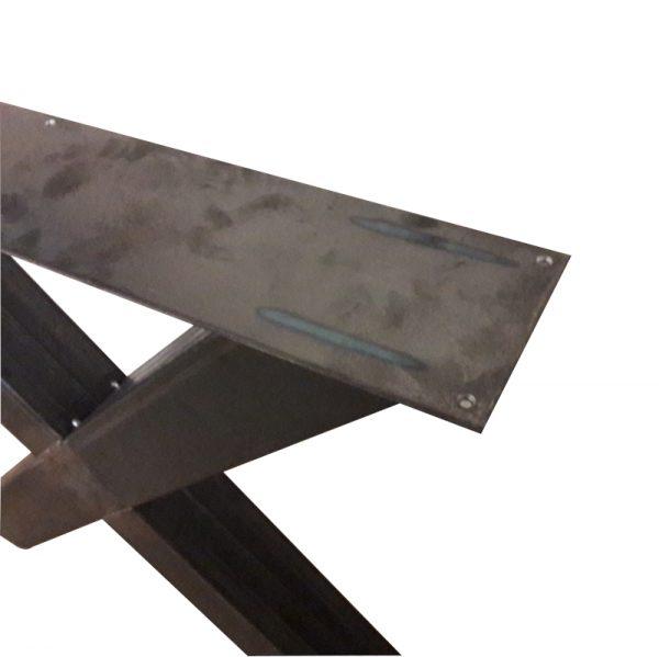 Industrieel stalen X-poot 10x10 cm onderstel bovenaanzicht