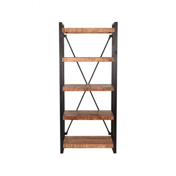 boekenkast brussels rough mangohout 80x45x185 cm voorkant  -