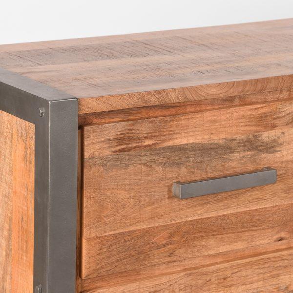 dressoir factory rough mangohout vintage metaal180x45x80 cm detail  -