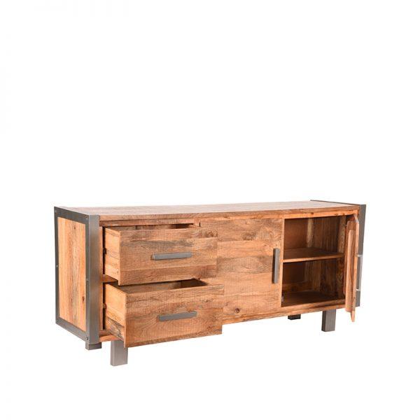 dressoir factory rough mangohout vintage metaal 180x45x80 cm perspectief 2  -