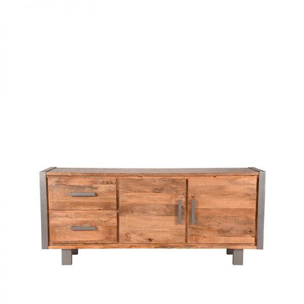 dressoir factory rough mangohout vintage metaal 180x45x80 cm voorkant  -