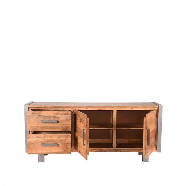 dressoir factory rough mangohout vintage metaal 180x45x80 cm voorkant 2  -