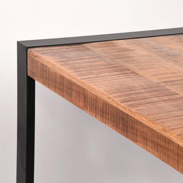 eettafel brussels rough mangohout zwart metaal 220x95x76 cm detail  -