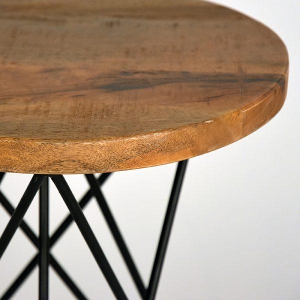 kruk paris zwart metaal rough mangohout 35x35x52 cm detail  -