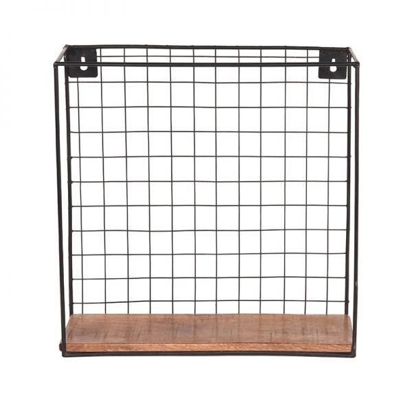 wandrek firm zwart metaal rough mangohout 40x15x40 cm voorkant 2  -