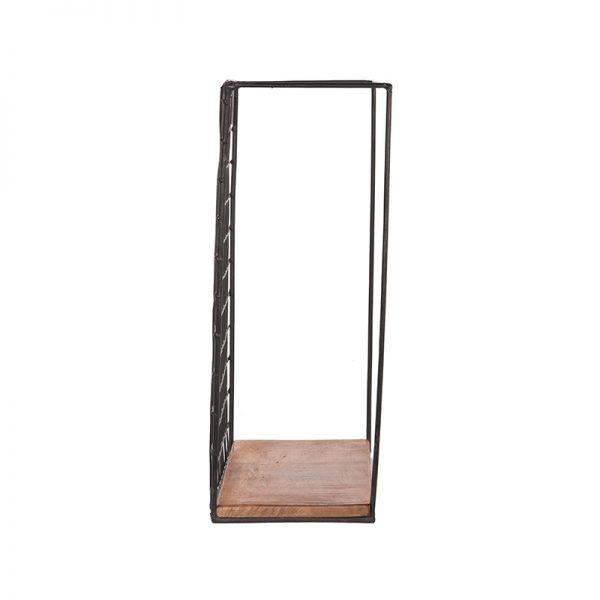 wandrek firm zwart metaal rough mangohout 40x15x40 cm zijkant  -