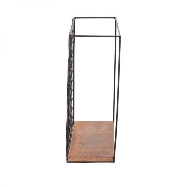 wandrek firm zwart metaal rough mangohout 40x15x40 cm zijkant 2  -